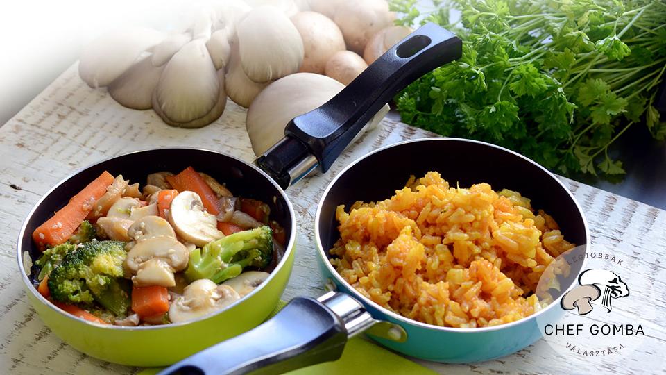 ChefGomba pikáns sárgarépa brokkoli gomba currys rizzsel