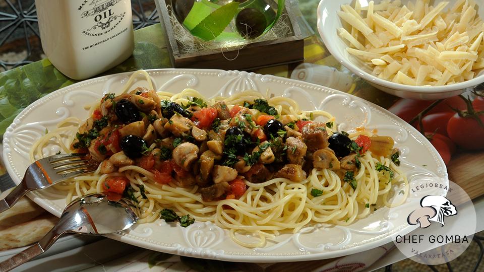 ChefGomba spagetti gombás paradicsomos szósszal