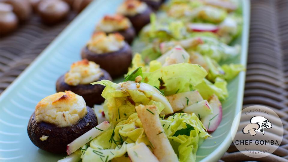 ChefGomba Juhturoval toltott gombafejek tavaszi salataval